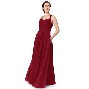 Azazie Claudia Burgundy Bridesmaid Dress Pockets